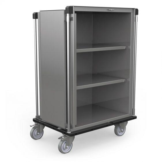 Armoire de transport inox avec étagères réglables en hauteur