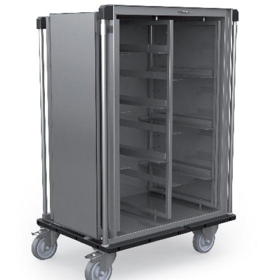 Armoire de transport inox avec guides réglables en hauteur